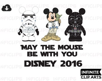 Disney Star Wars Iron On May the Mouse Be with You Mickey Star Wars 2016 Printable Iron On Transfer or Use as Clip Art, DIY Star Wars
