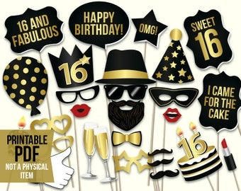 Sweet 16 photo booth props: printable PDF. Sweet sixteenth birthday props. Black and gold teenage birthday party selfie station photo props