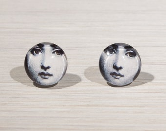 Fornasetti earrings, Face Stud Earrings, face jewellery, lady face studs, illustration studs, gifts for her, unusual studs