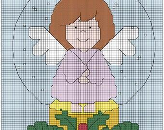 Angel Snow Globe 3x4 cross stitch pattern