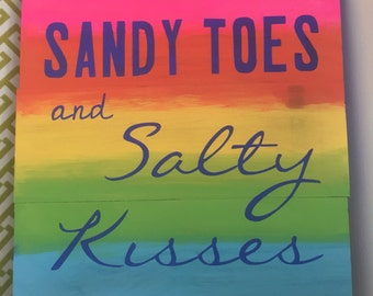 "Sandy Toes and Salty Kisses sign - hand painted - 10""x10.5"""