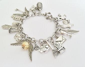 Harry Potter Charm Bracelet, Golden Snitch Bracelet
