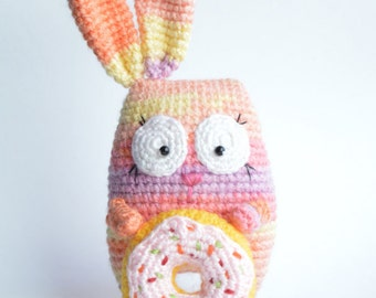Colourful Bunny with Donut - amigurumi crochet toy