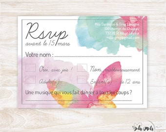 Coupon RSVP to share wedding Butterfly Watercolour