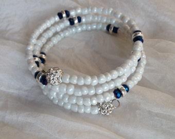 Memory Wire Boho Beaded Bracelet, with deep blue Czech beads