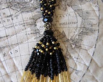 Swarovski Crystal Kumihimo Fringe Necklace - Black & Gold