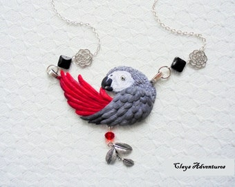 African grey necklace, hand sculpted, polymer clay parrot.