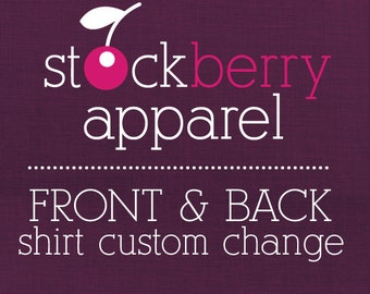 Back Custom Design Change/Print Upgrade