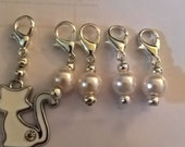 Handmade 'Snow Queen' Cat Knitting/Crochet Stitch Markers x 5