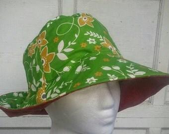Women's Sun Hat green and red reversible bucket hat women beach