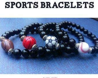 Sports Bracelets. Football. Soccer. Baseball. Basketball.