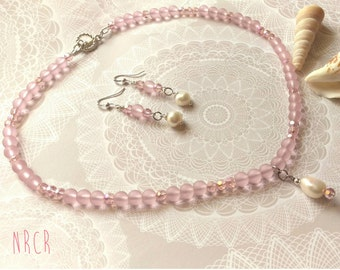 Pink Pastel Crystal Necklace and  Earrings Set. FW Pearl. Dainty.