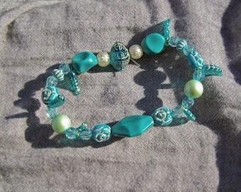 Aquamarine Leaf Charm Bracelet