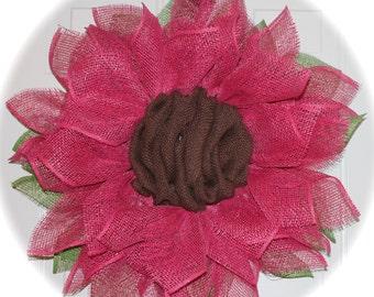 Pink Flower Deco Mesh Wreath Spring Wreath Summer Wreath