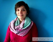 100% silk scarf women scarf Snood soft turquoise blue pink printed floral lined in silk precious gift idea