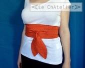Ceinture femme large / Ceinture OBI / Ceinture japonaise / OBI liberty réversible / Serre-taille textile coton / Corset / Ceinture rouge
