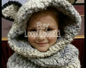 Crochet wolf scoodie cowl