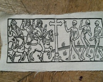 The dance of death, patches for historical woodcut.