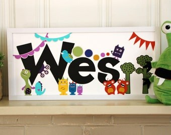 Monster Nursery Name Sign - nursery decor, baby room, baby shower, baby gift