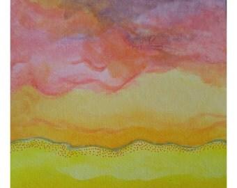 8in x 8in Original Desert Sands watercolor
