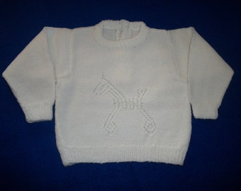 Hand Knit Baby Sweater - Baby Blue