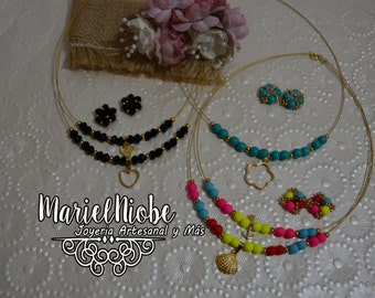 """Doble Thread chain type 024"""" nylon coated Stainless Steel with Charm in Laminated Gold + Earrings"""