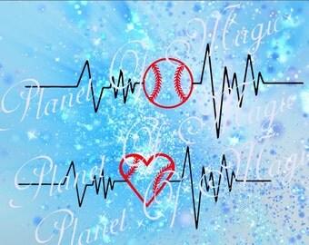 Baseball Svg File, Baseball Love SVG, Heartbeat SVG, Sport Svg File, Heart Baseball SVG, Cricut Digital File, Silhouette Sport Dxf