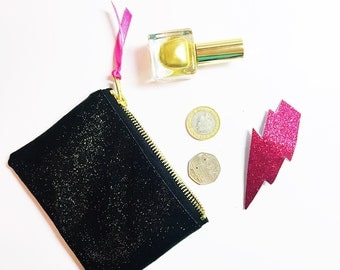 Black glitter purse. Sparkly wallet.