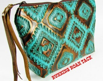 Turquoise Navajo Aztec Leather Makeup Cosmetic Bag Pouch