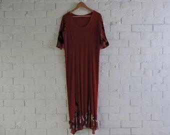 Vintage SMOOTH SYDNEY Red Slinky Dress With Velvet Patch Detail