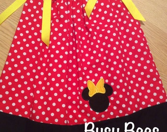 Minnie Red or Pink and White Polka Dot Pillowcase Dress