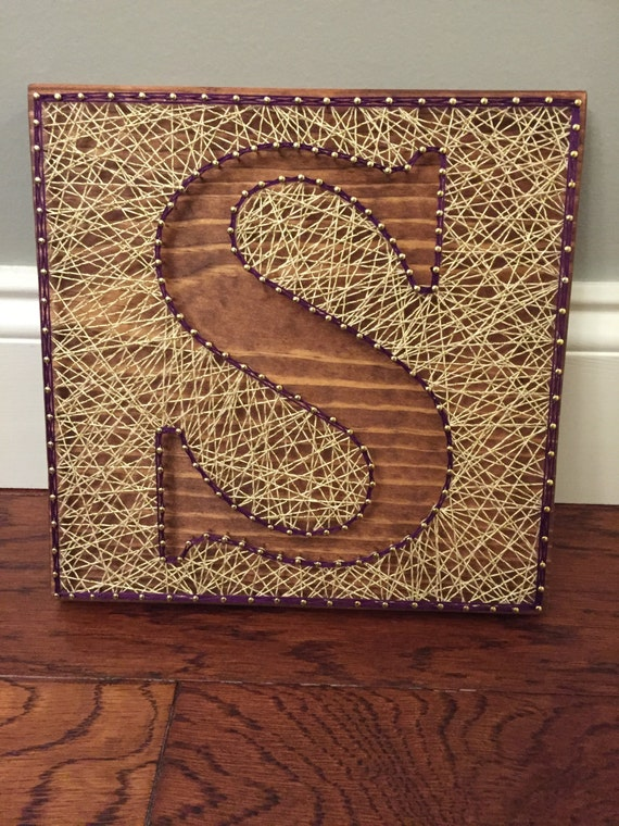 Custom letter art inverse string art inverse by shopambiguous for Custom letter art