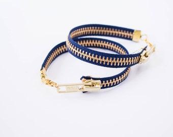 Zipper Bracelet - Navy