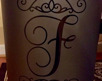 Monogram/Personalized Decal for Trash Can