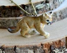 Hand Painted Porcelain Cougar Necklace, Antique Bronze Chain, Vintage Style Mountain Lion, Ceramic Animal Pendant & Chain (CA168)