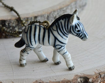 Hand Painted Porcelain Zebra Necklace, Antique Bronze Chain, Vintage Style Africa, Ceramic Animal Pendant & Chain (CA019)