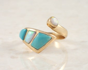14K Yellow Gold Turquoise and Opal Ring