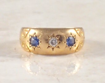 18K Yellow Gold Victorian Diamond and Sapphire Band