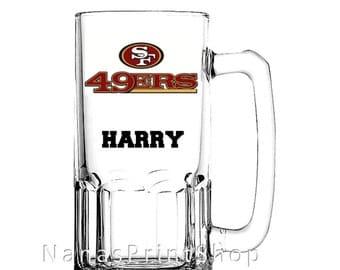 Huge Personalized Mug-San Fran 49ers-Football-Monogrammed-Custom-Barware-Glasses-Stein-Birthday-NFL 13.99+
