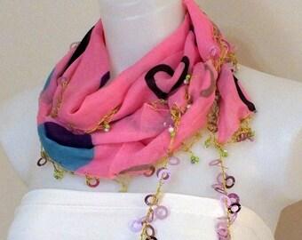 Turkish oya crochet scarf Soft summer scarf Pink crochet scarf Oya scarf Turkish scarf Spring accessories Women fashion Gift ideas