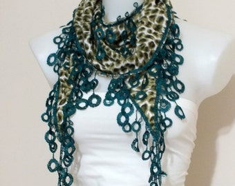Summer Lace scarf Green lace scarf Summer accessories Soft Lace scarf Women accessories Spring accessories Fashion accessories Gift  Boho