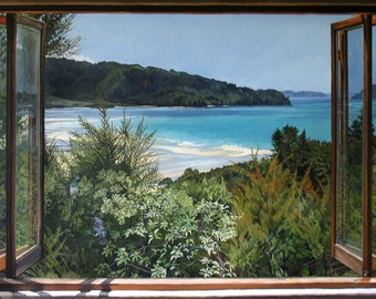 Mārahau, from the Inside Out - Ltd Ed. Giclée Art Print on Canvas by Jane Nicol
