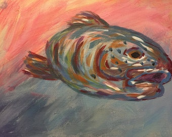 Acrylic Trout Painting