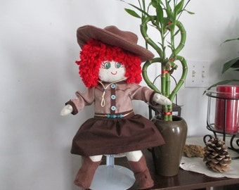 Handmade Cowgirl Doll, Freckle-Faced Red Headed Cowgirl, Cloth/Fabric Doll