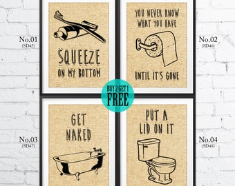 Bathroom Burlap Print, Home Decor, Bathroom Sign, Humor Print, Rustic Wall Art, Vintage Decor, Housewarming Gift, Holiday Gift, SD45~48