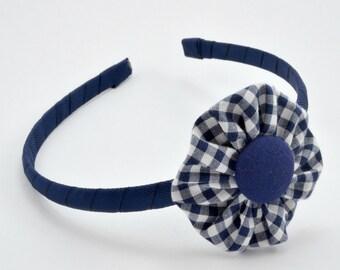 School Headband - Gingham Fabric Flower