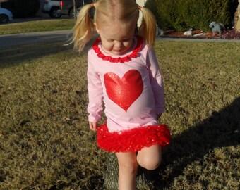 girl's Valentine's heart glitter dress