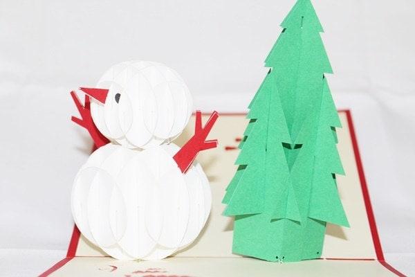 Christmas Snowman, Pop Up Birthday Card, Pop Up Card, G