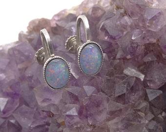Vintage Fiery Black Opal gemstone Earrings