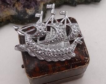 Vintage Charles Horner Sparkly Staybrite Chrome Galleon Ship Brooch Pin
